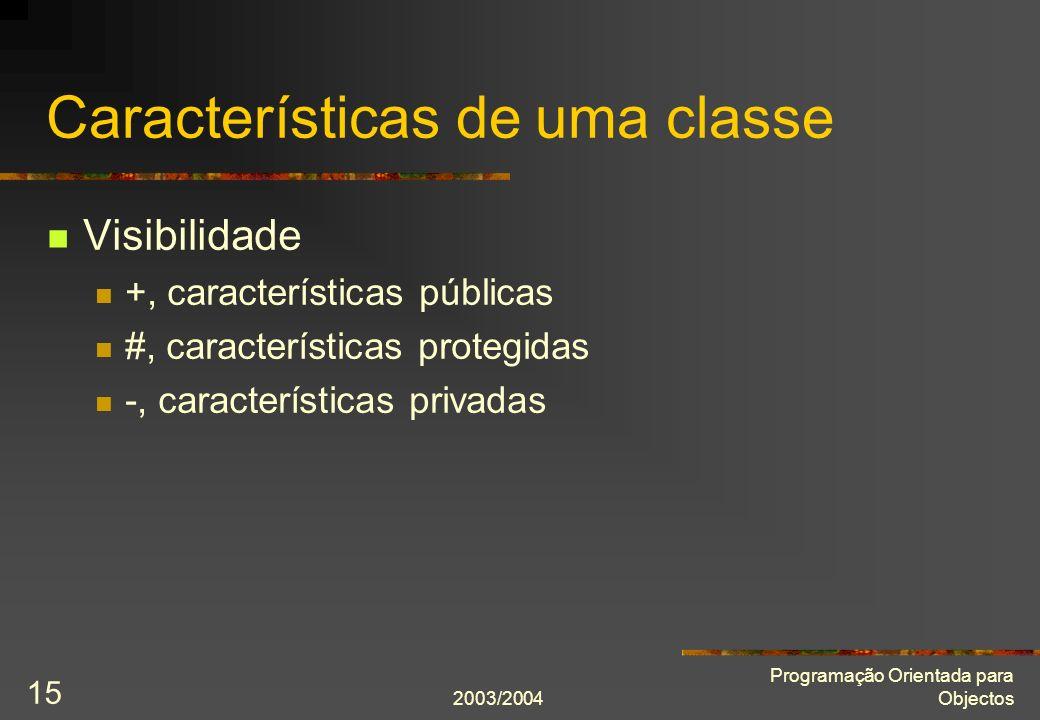 2003/2004 Programação Orientada para Objectos 15 Características de uma classe Visibilidade +, características públicas #, características protegidas