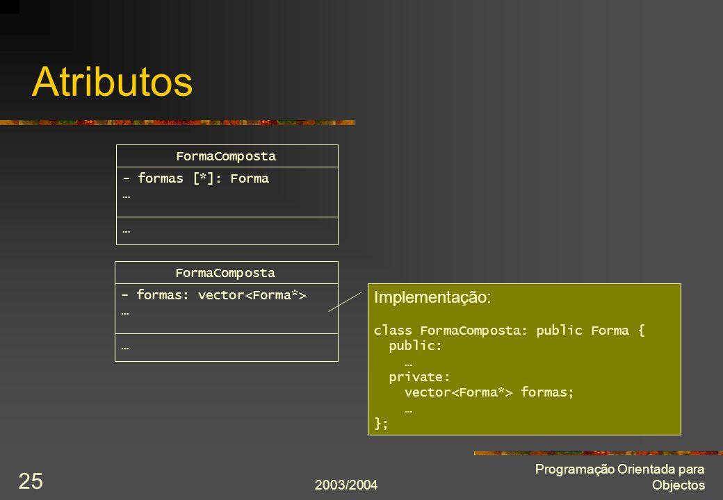 2003/2004 Programação Orientada para Objectos 25 Atributos FormaComposta - formas [*]: Forma … … FormaComposta - formas: vector … … Implementação: cla