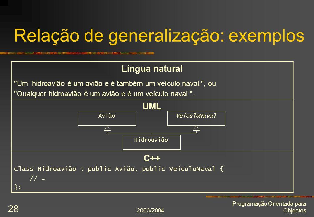 2003/2004 Programação Orientada para Objectos 28 Relação de generalização: exemplos Língua natural