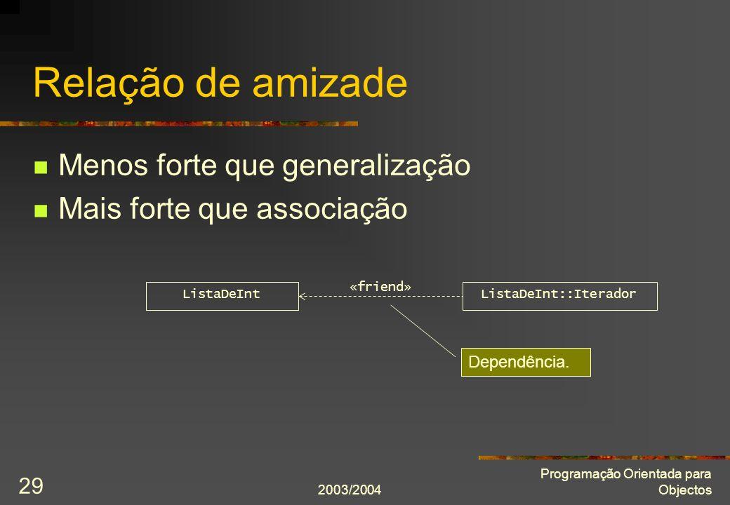 2003/2004 Programação Orientada para Objectos 29 Relação de amizade Menos forte que generalização Mais forte que associação ListaDeIntListaDeInt::Iter