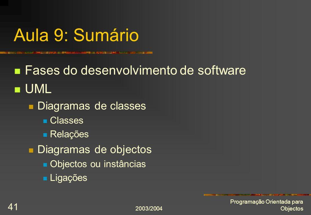 2003/2004 Programação Orientada para Objectos 41 Aula 9: Sumário Fases do desenvolvimento de software UML Diagramas de classes Classes Relações Diagra