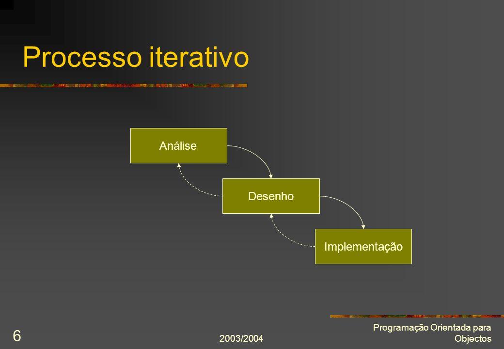 2003/2004 Programação Orientada para Objectos 6 Processo iterativo Implementação Análise Desenho