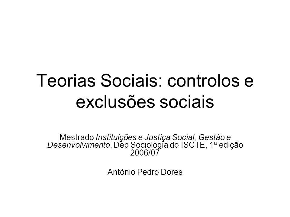 Teorias Sociais: controlos e exclusões sociais Mestrado Instituições e Justiça Social, Gestão e Desenvolvimento, Dep Sociologia do ISCTE, 1ª edição 2006/07 António Pedro Dores