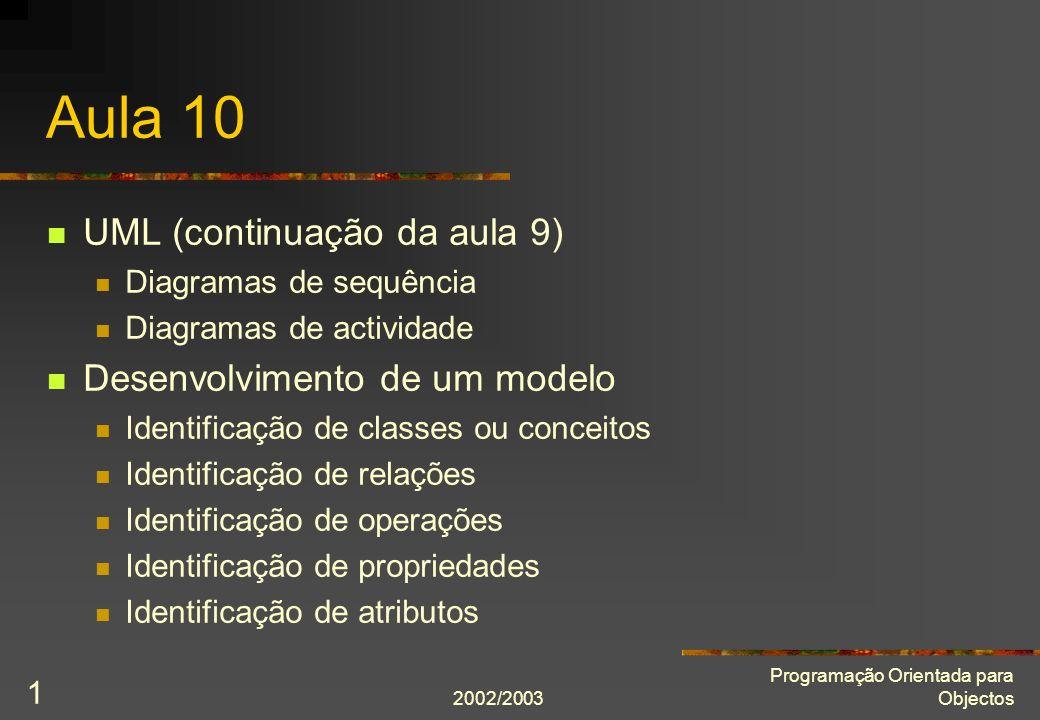 2002/2003 Programação Orientada para Objectos 1 Aula 10 UML (continuação da aula 9) Diagramas de sequência Diagramas de actividade Desenvolvimento de um modelo Identificação de classes ou conceitos Identificação de relações Identificação de operações Identificação de propriedades Identificação de atributos