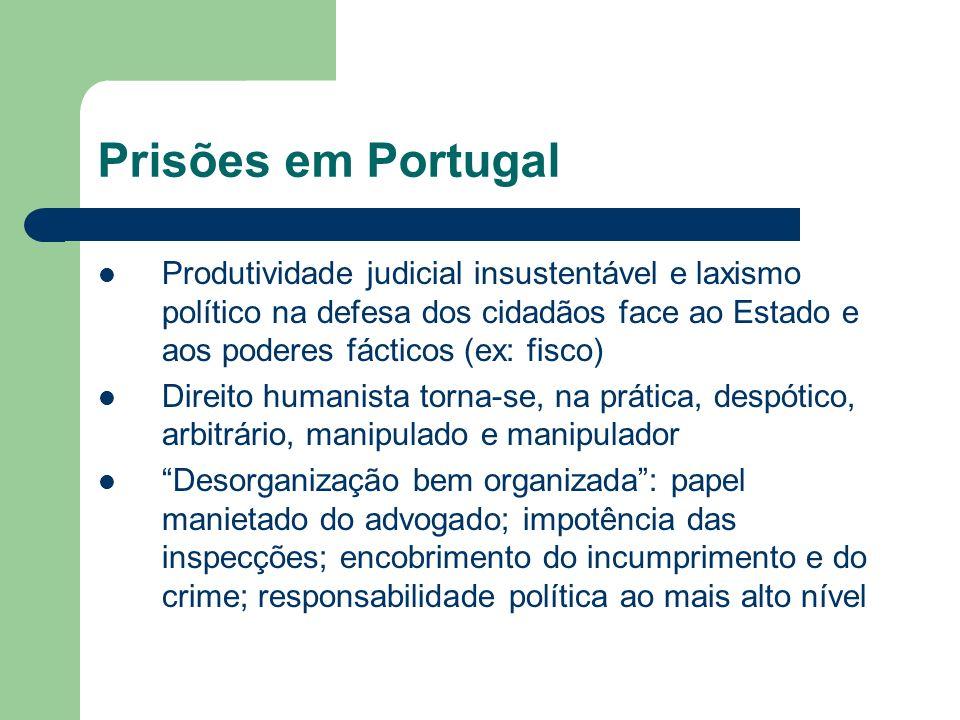 Prisões em Portugal (2) A) 3x a média europeia de pena efectiva B) Prisão preventiva, cúmulos jurídicos e penas indeterminadas subvertem e eternizam penas (desrespeito da constitucionalidade das leis) C) Situação sanitária e homicídios não desvendados tornam realistas ameaças de morte D) Política de desresponsabilização geral e sistemática impede debate político, abandonando os estabelecimentos aos traficantes de vários tráficos