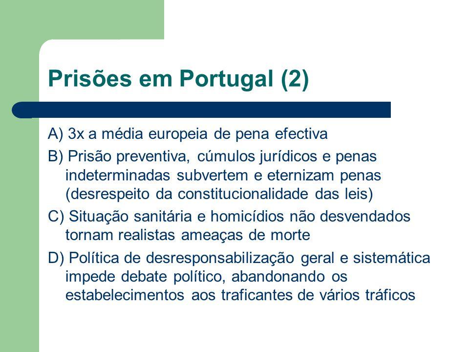 Prisões em Portugal (3) Medo dos profissionais e dos condenados e respectivas famílias, extensivo a toda a sociedade Deslegitimação da intervenção modernizadora e racional e legitimação dos oportunismos e dos laços de protecção pessoal, influente a nível da intervenção cívica que protege (in)acção política