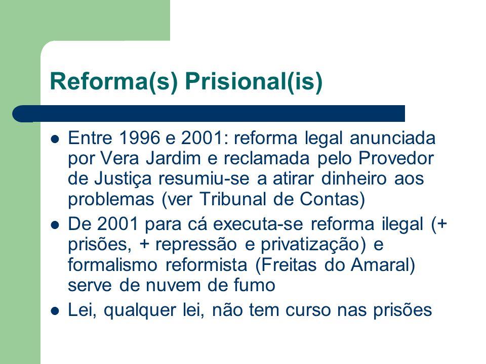 Reforma(s) Prisional(is) Entre 1996 e 2001: reforma legal anunciada por Vera Jardim e reclamada pelo Provedor de Justiça resumiu-se a atirar dinheiro