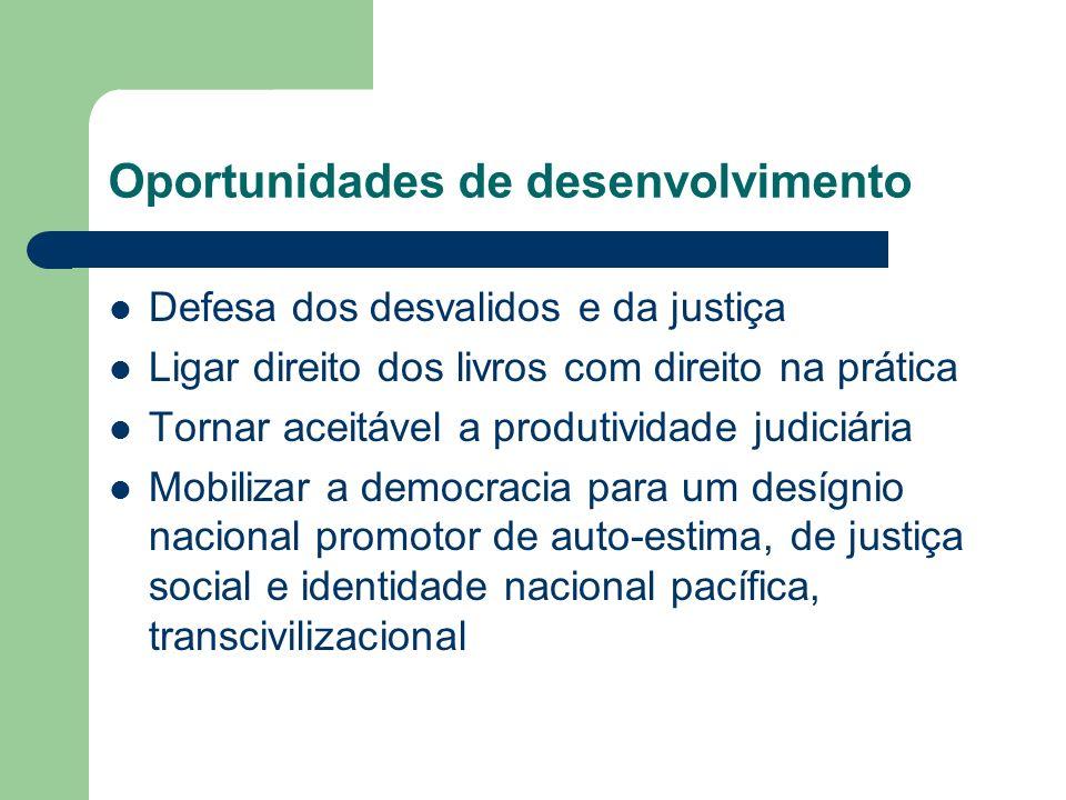 Oportunidades de desenvolvimento Defesa dos desvalidos e da justiça Ligar direito dos livros com direito na prática Tornar aceitável a produtividade j