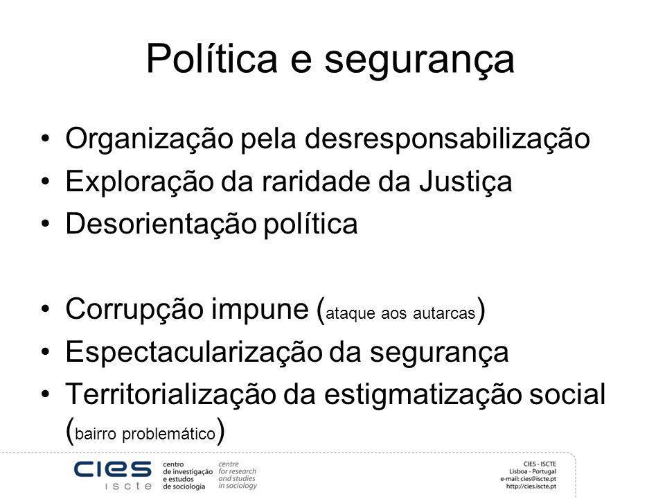 Política e segurança Organização pela desresponsabilização Exploração da raridade da Justiça Desorientação política Corrupção impune ( ataque aos auta