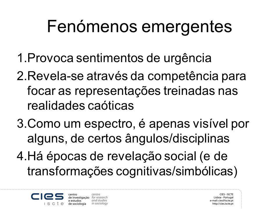 Fenómenos emergentes 1.Provoca sentimentos de urgência 2.Revela-se através da competência para focar as representações treinadas nas realidades caótic