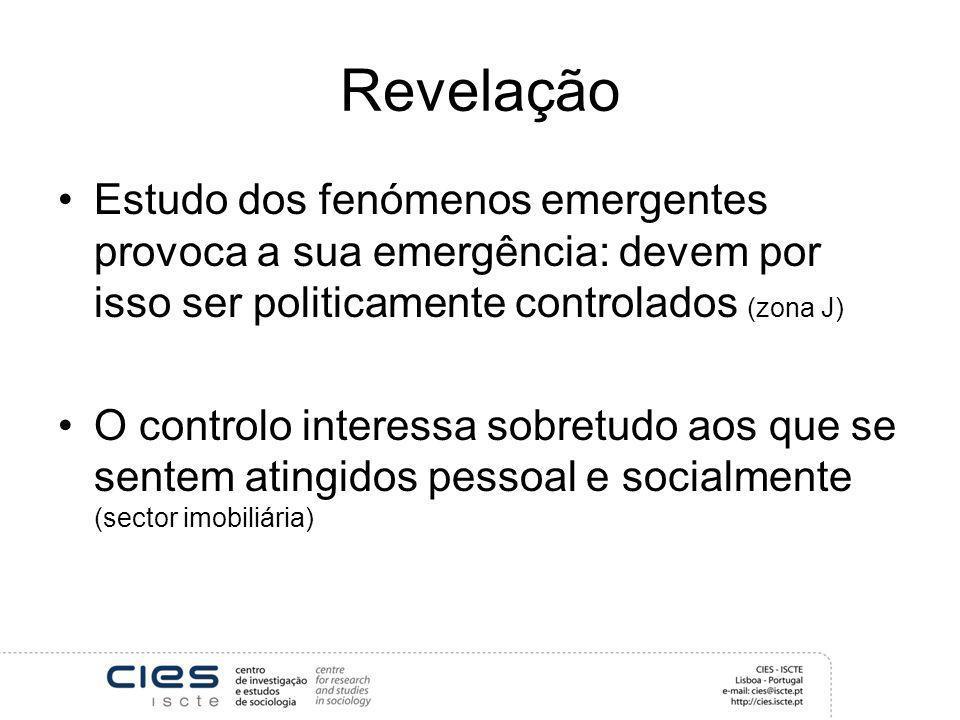 Revelação Estudo dos fenómenos emergentes provoca a sua emergência: devem por isso ser politicamente controlados (zona J) O controlo interessa sobretu