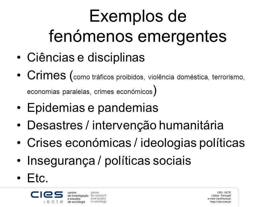 Exemplos de fenómenos emergentes Ciências e disciplinas Crimes ( como tráficos proibidos, violência doméstica, terrorismo, economias paralelas, crimes