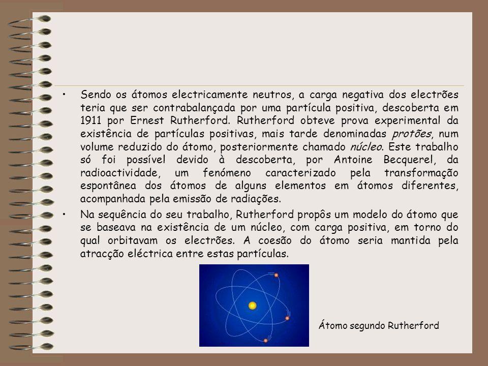 Sendo os átomos electricamente neutros, a carga negativa dos electrões teria que ser contrabalançada por uma partícula positiva, descoberta em 1911 po