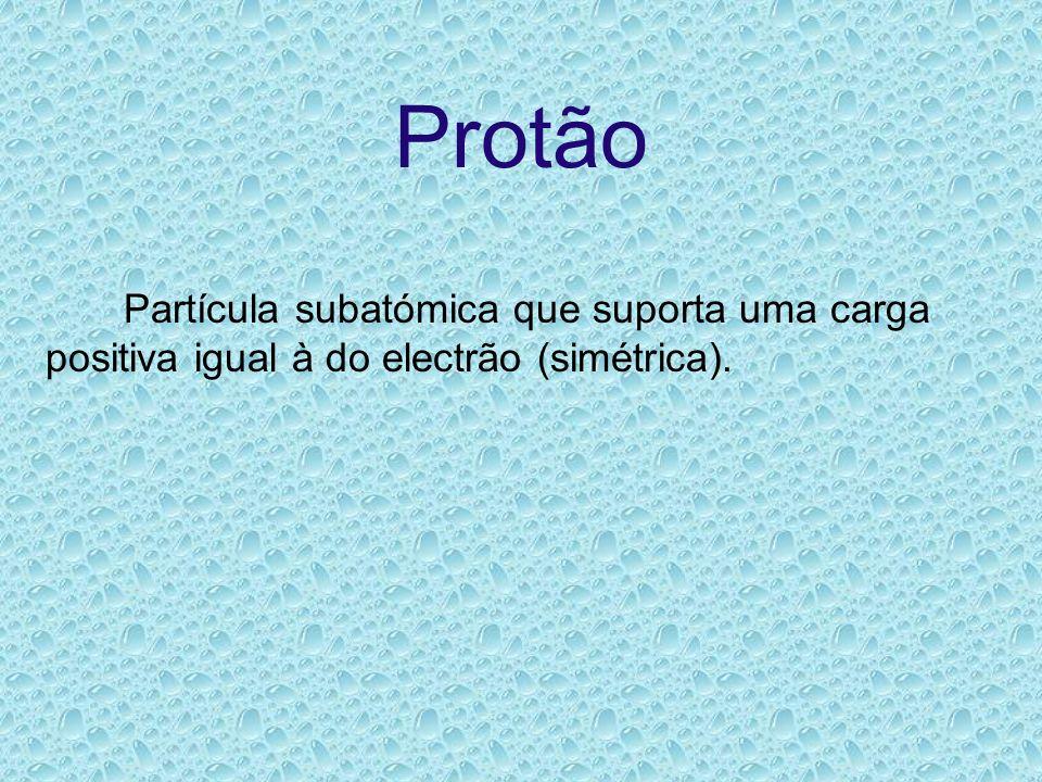 Protão Partícula subatómica que suporta uma carga positiva igual à do electrão (simétrica).