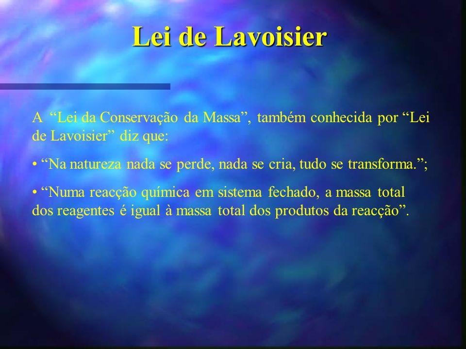 Lei de Lavoisier A Lei da Conservação da Massa, também conhecida por Lei de Lavoisier diz que: Na natureza nada se perde, nada se cria, tudo se transf