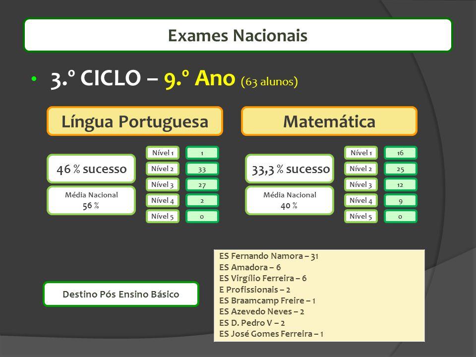 3.º CICLO – 9.º Ano (63 alunos) 33,3 % sucesso 46 % sucesso Nível 1 Nível 2 Nível 3 Nível 4 Nível 5 Nível 1 Nível 2 Nível 3 Nível 4 Nível 5 1 33 0 2 2