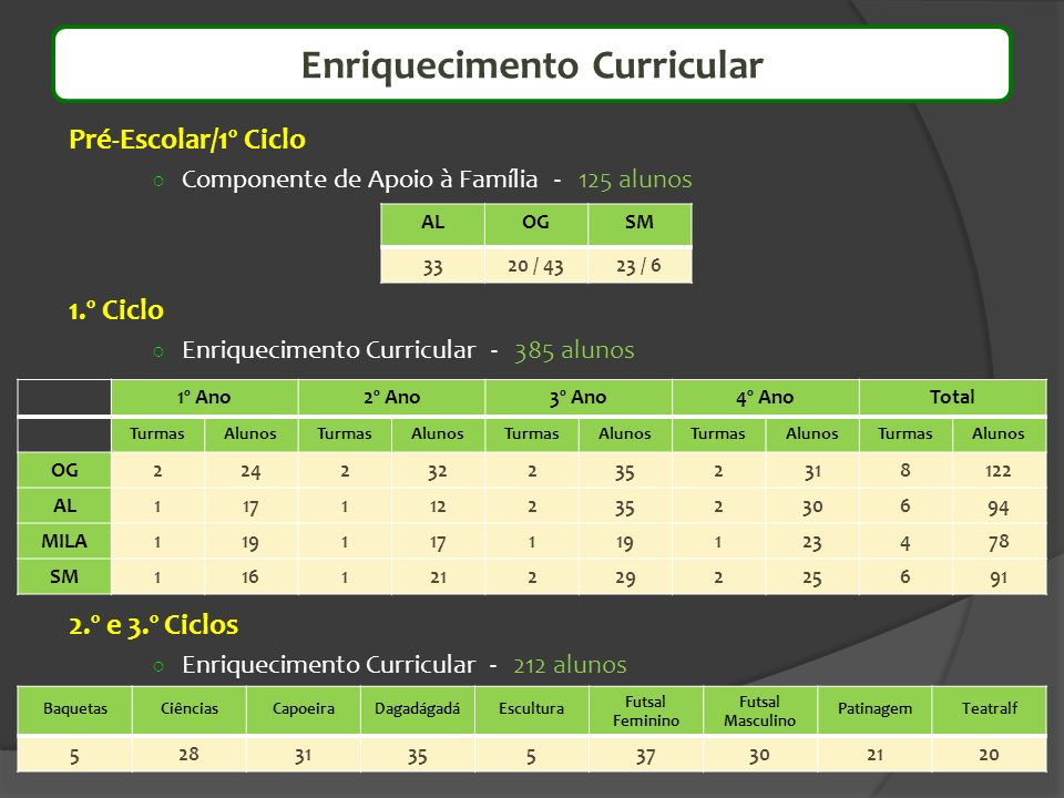Pré-Escolar/1º Ciclo Componente de Apoio à Família - 125 alunos 1.º Ciclo Enriquecimento Curricular - 385 alunos 2.º e 3.º Ciclos Enriquecimento Curri