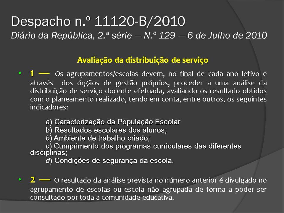 Despacho n.º 11120-B/2010 Despacho n.º 11120-B/2010 Diário da República, 2.ª série N.º 129 6 de Julho de 2010 Avaliação da distribuição de serviço 1 1