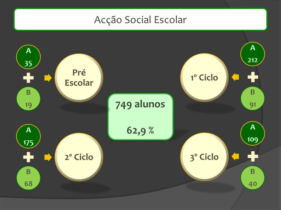 749 alunos 62,9 % Acção Social Escolar A 35 B 19 Pré Escolar A 175 B 68 2º Ciclo A 212 B 91 1º Ciclo A 109 B 40 3º Ciclo