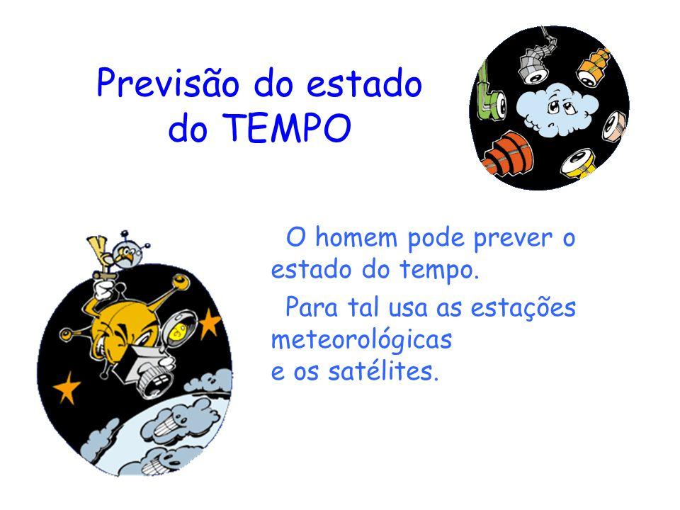 Previsão do estado do TEMPO O homem pode prever o estado do tempo. Para tal usa as estações meteorológicas e os satélites.