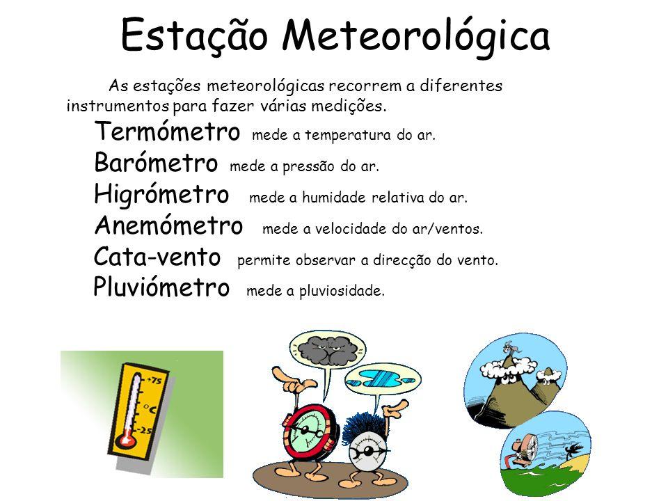 Estação Meteorológica As estações meteorológicas recorrem a diferentes instrumentos para fazer várias medições. Termómetro mede a temperatura do ar. B