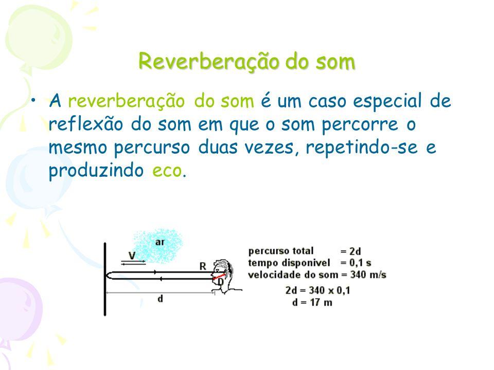 Reverberação do som A reverberação do som é um caso especial de reflexão do som em que o som percorre o mesmo percurso duas vezes, repetindo-se e prod