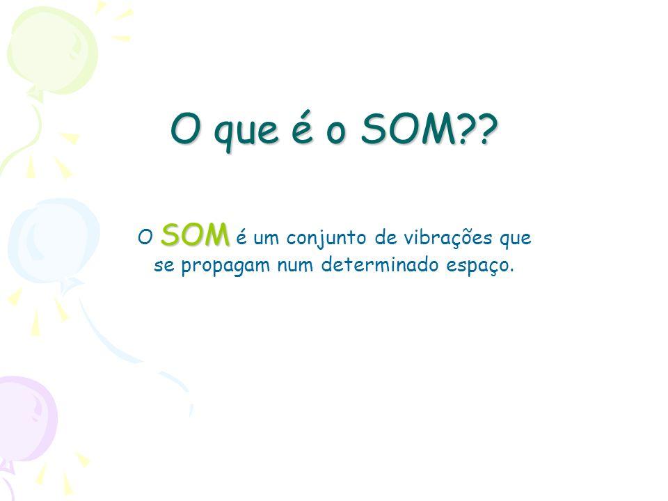O que é o SOM?? SOM O SOM é um conjunto de vibrações que se propagam num determinado espaço.