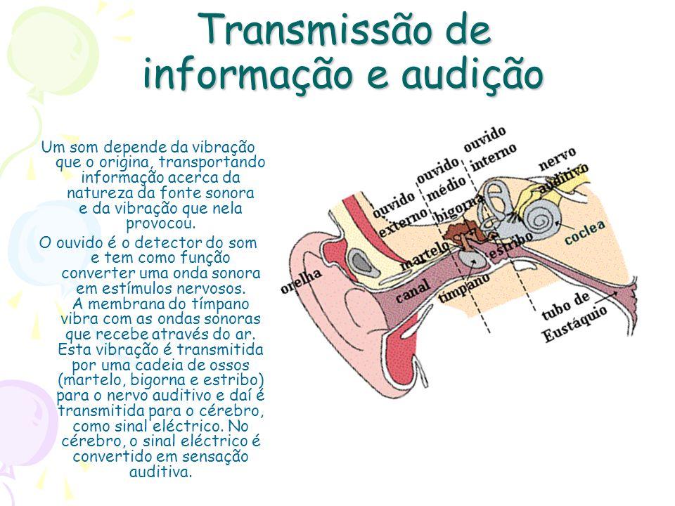 Transmissão de informação e audição Um som depende da vibração que o origina, transportando informação acerca da natureza da fonte sonora e da vibraçã