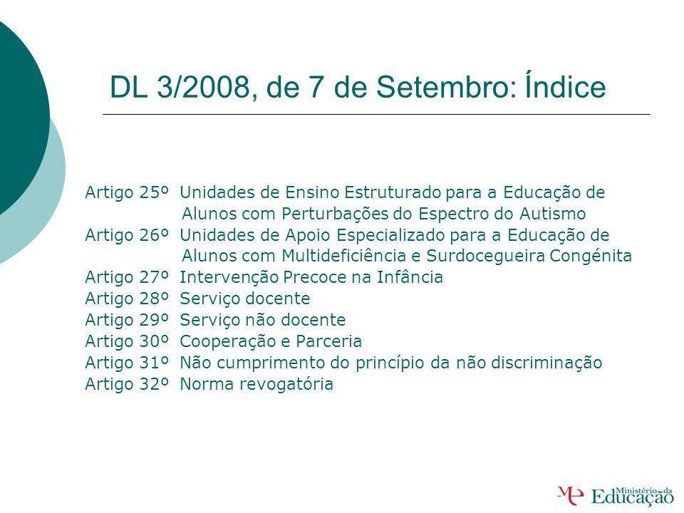 DL 3/2008, de 7 de Setembro: Índice Artigo 11º Coordenação do Programa Educativo Individual Artigo 12º Prazos de Aplicação do Programa Educativo Indiv