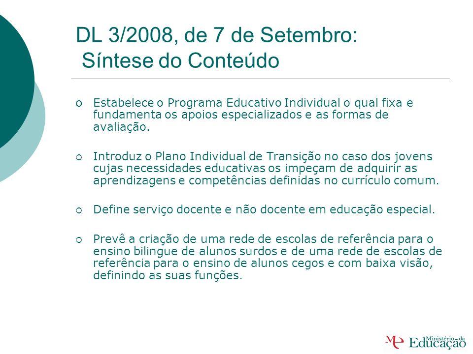 DL 3/2008, de 7 de Setembro: Síntese do Conteúdo Estabelece como medidas educativas de educação especial: Apoio pedagógico personalizado; Adequações c