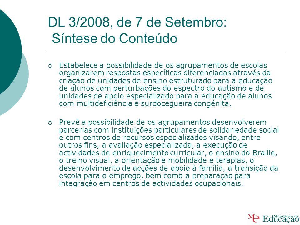 DL 3/2008, de 7 de Setembro: Síntese do Conteúdo o Estabelece o Programa Educativo Individual o qual fixa e fundamenta os apoios especializados e as f