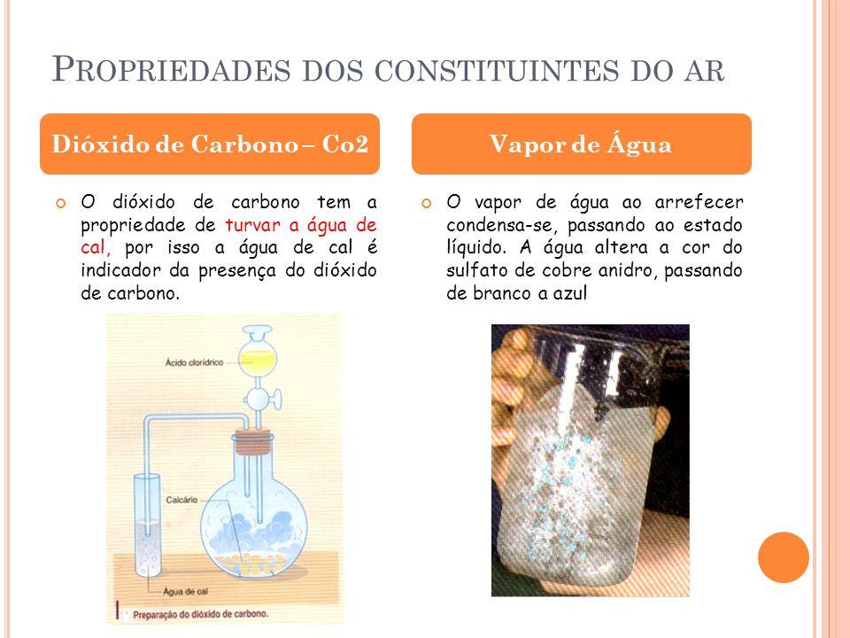 P ROPRIEDADES DOS CONSTITUINTES DO AR O dióxido de carbono tem a propriedade de turvar a água de cal, por isso a água de cal é indicador da presença d
