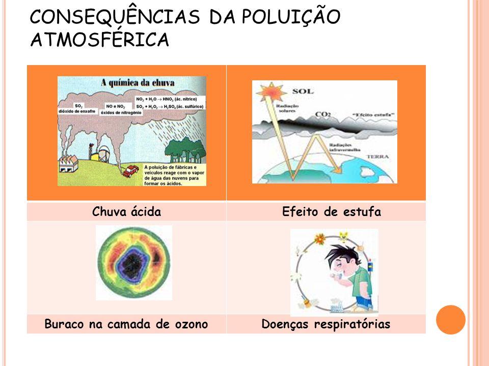 CONSEQUÊNCIAS DA POLUIÇÃO ATMOSFÉRICA Chuva ácida Efeito de estufa Buraco na camada de ozonoDoenças respiratórias