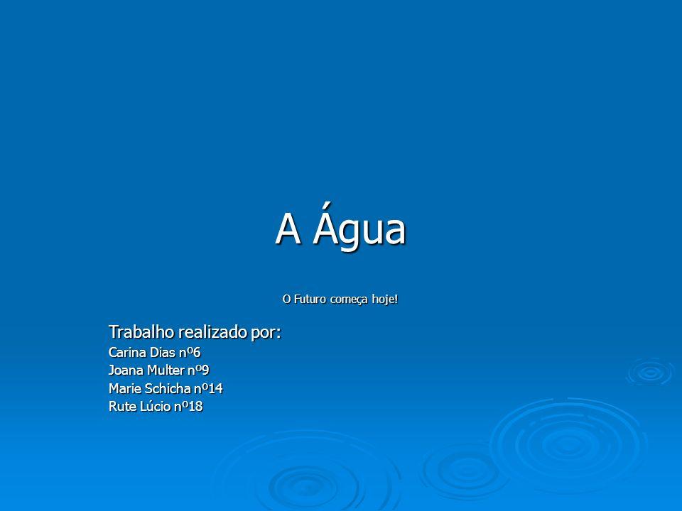 A Água O Futuro começa hoje! Trabalho realizado por: Carina Dias nº6 Joana Multer nº9 Marie Schicha nº14 Rute Lúcio nº18