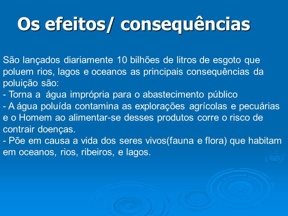 Os efeitos/ consequências São lançados diariamente 10 bilhões de litros de esgoto que poluem rios, lagos e oceanos as principais consequências da polu