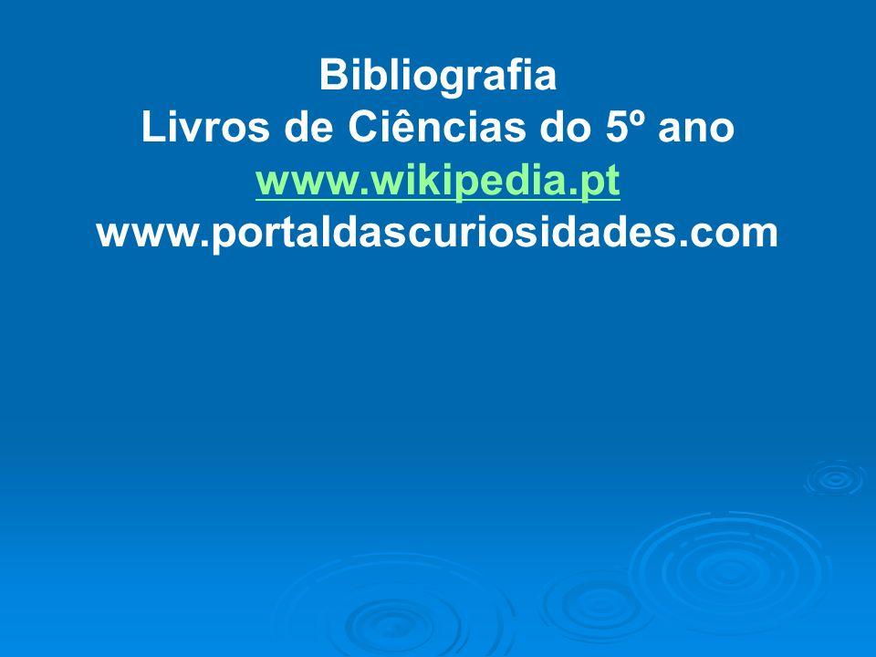 Bibliografia Livros de Ciências do 5º ano www.wikipedia.pt www.portaldascuriosidades.com