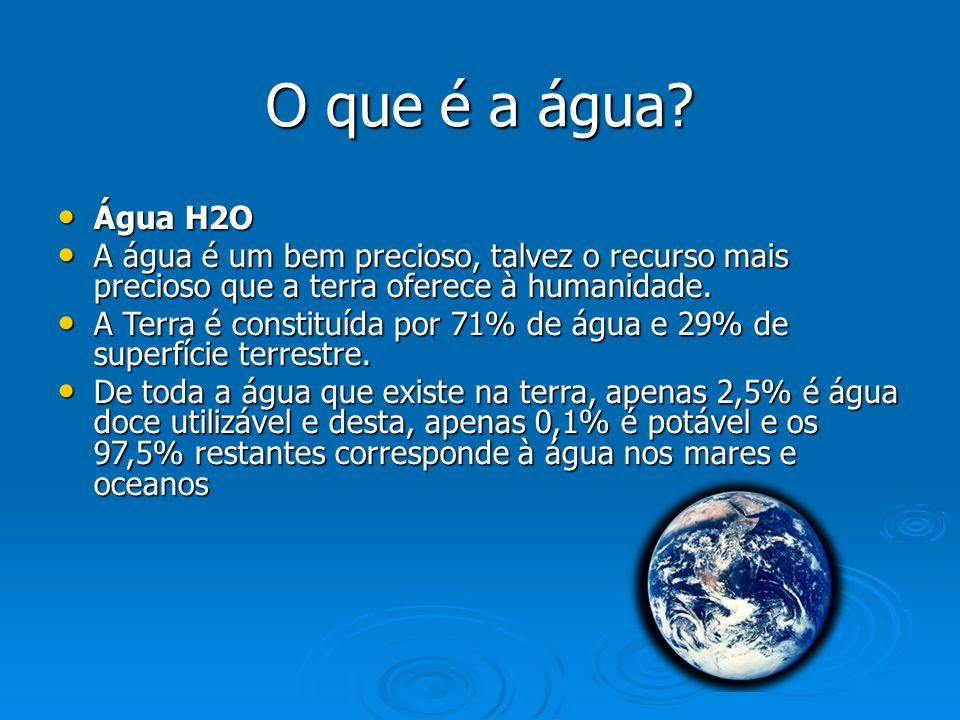 O que é a água? Água H2O Água H2O A água é um bem precioso, talvez o recurso mais precioso que a terra oferece à humanidade. A água é um bem precioso,