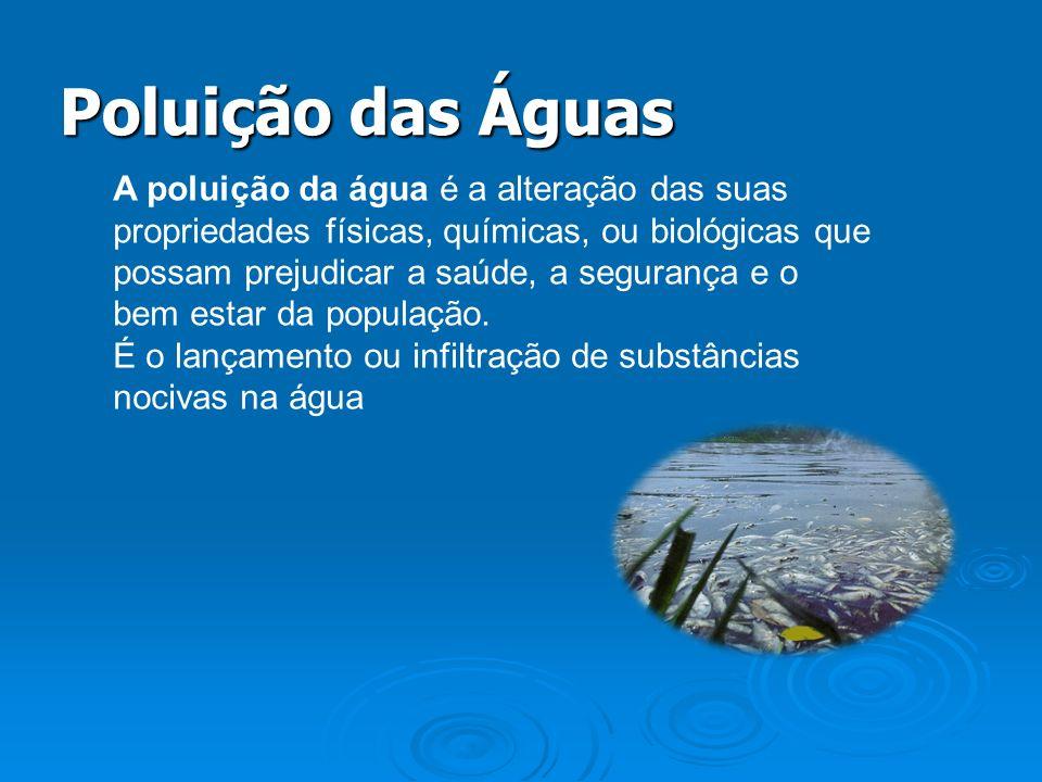 A poluição da água é a alteração das suas propriedades físicas, químicas, ou biológicas que possam prejudicar a saúde, a segurança e o bem estar da po
