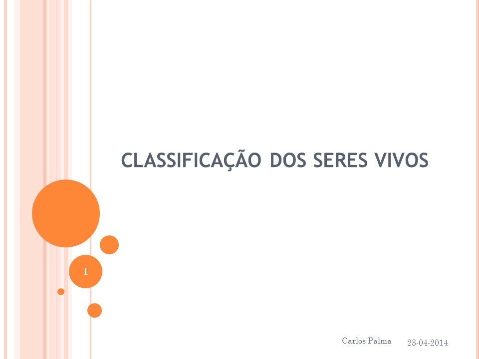 CLASSIFICAÇÃO DOS SERES VIVOS 23-04-2014 1 Carlos Palma