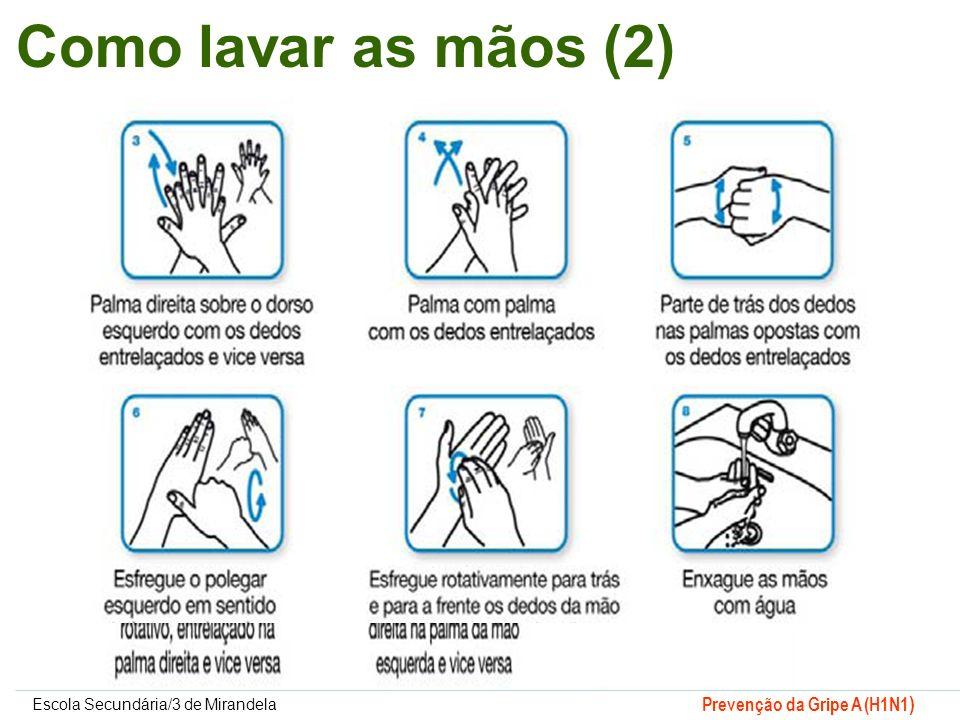 Escola Secundária/3 de Mirandela Prevenção da Gripe A (H1N1 ) Como lavar as mãos (2)