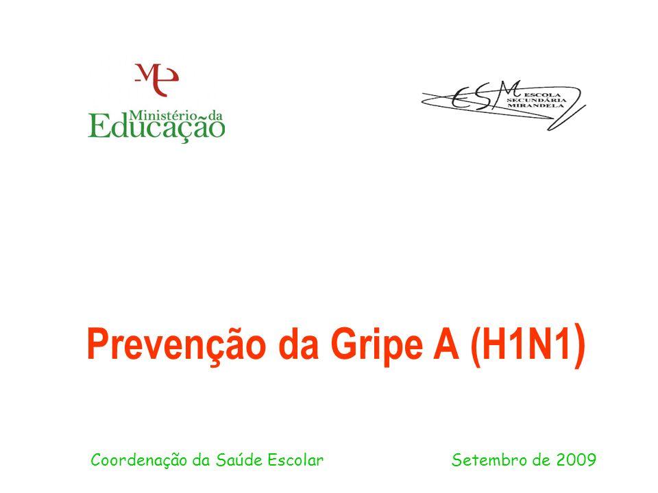 Prevenção da Gripe A (H1N1 ) Coordenação da Saúde Escolar Setembro de 2009