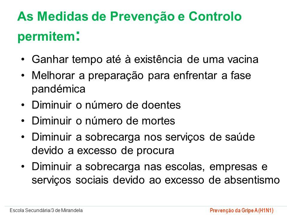 Escola Secundária/3 de Mirandela Prevenção da Gripe A (H1N1 ) As Medidas de Prevenção e Controlo permitem : Ganhar tempo até à existência de uma vacin