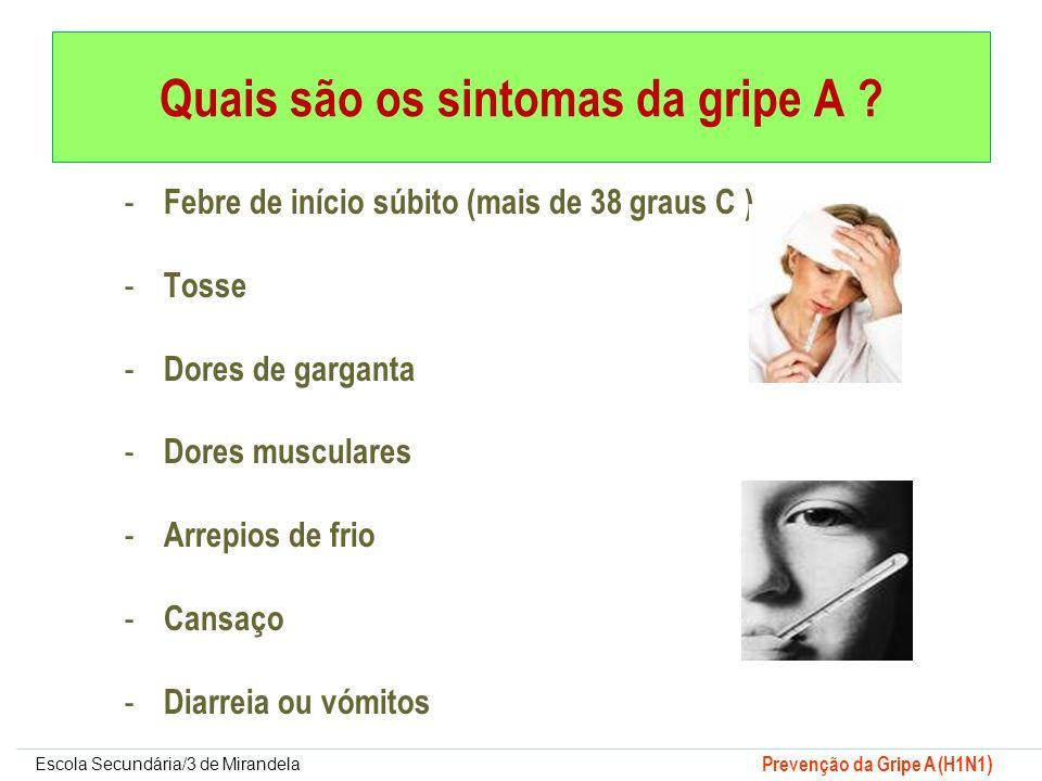 Escola Secundária/3 de Mirandela Prevenção da Gripe A (H1N1 ) - Febre de início súbito (mais de 38 graus C ) - Tosse - Dores de garganta - Dores muscu