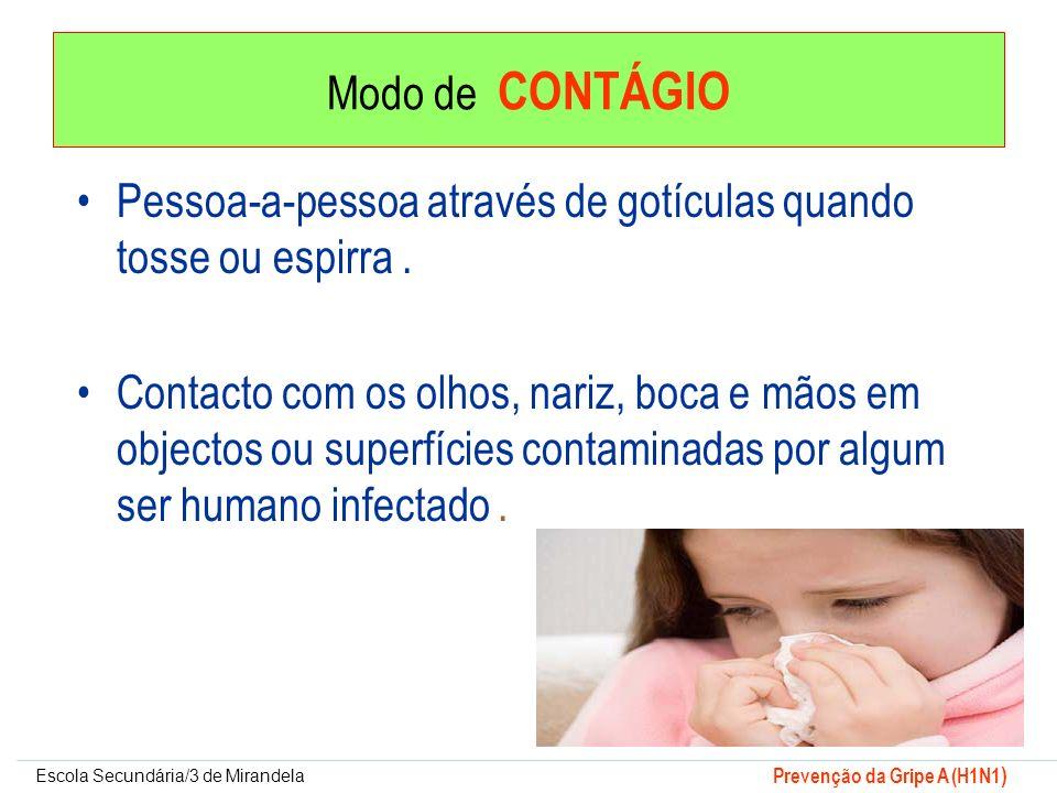 Escola Secundária/3 de Mirandela Prevenção da Gripe A (H1N1 ) Modo de CONTÁGIO Pessoa-a-pessoa através de gotículas quando tosse ou espirra. Contacto