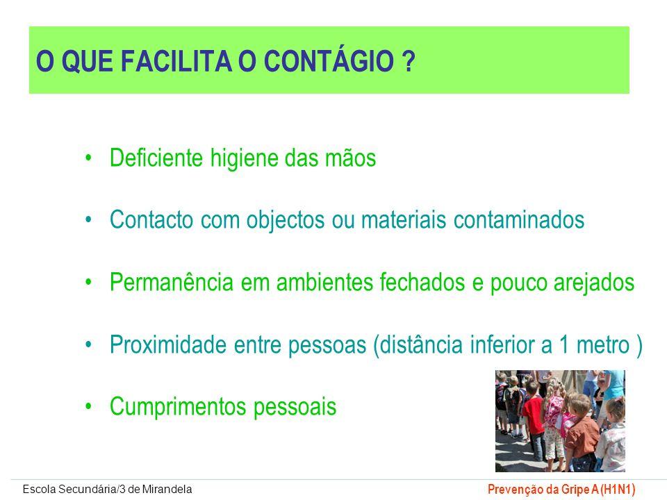 Escola Secundária/3 de Mirandela Prevenção da Gripe A (H1N1 ) O QUE FACILITA O CONTÁGIO ? Deficiente higiene das mãos Contacto com objectos ou materia