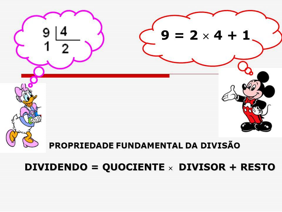 9 = 2 4 + 1 PROPRIEDADE FUNDAMENTAL DA DIVISÃO DIVIDENDO = QUOCIENTE DIVISOR + RESTO