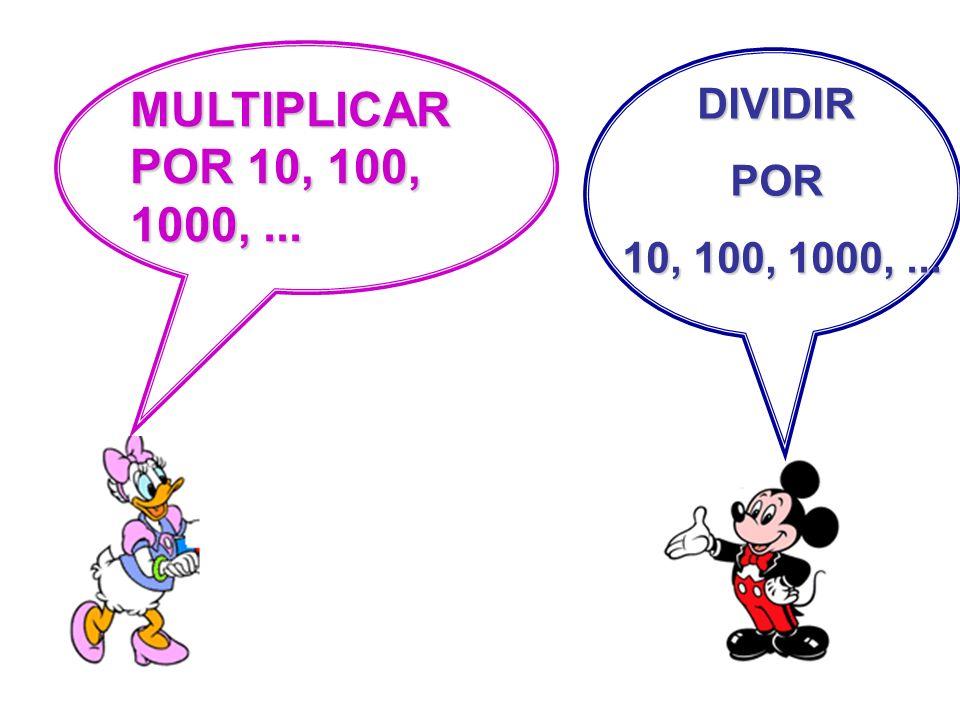 MULTIPLICAR POR 10, 100, 1000,... DIVIDIRPOR 10, 100, 1000,... 10, 100, 1000,...