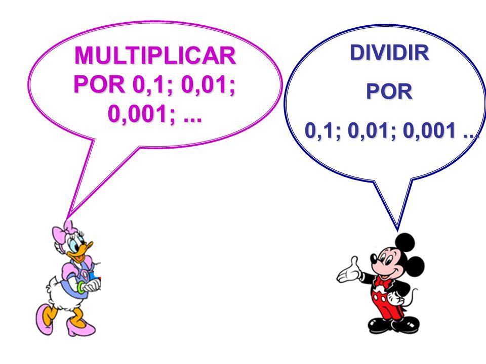 MULTIPLICAR POR 0,1; 0,01; 0,001;... DIVIDIRPOR 0,1; 0,01; 0,001... 0,1; 0,01; 0,001...