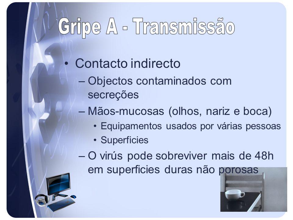 Contacto indirecto –Objectos contaminados com secreções –Mãos-mucosas (olhos, nariz e boca) Equipamentos usados por várias pessoas Superficies –O virú