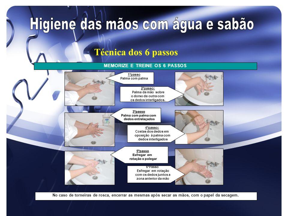 MEMORIZE E TREINE OS 6 PASSOS No caso de torneiras de rosca, encerrar as mesmas após secar as mãos, com o papel da secagem. 2ªpasso: Palma da mão sobr
